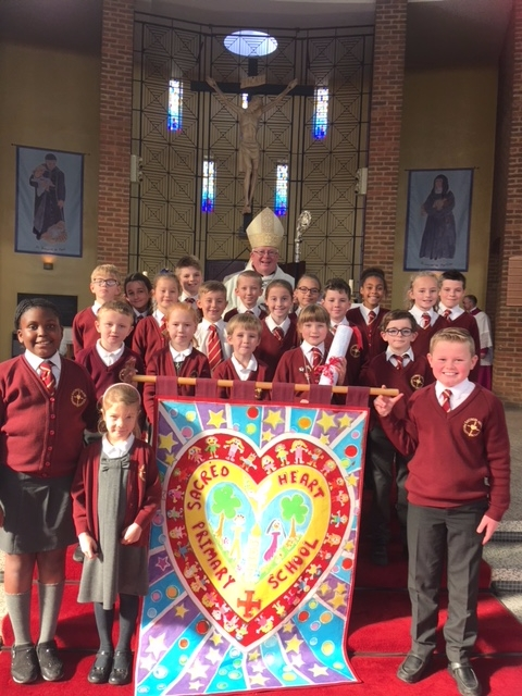 Sacred Heart Pupils with Bishop Peter